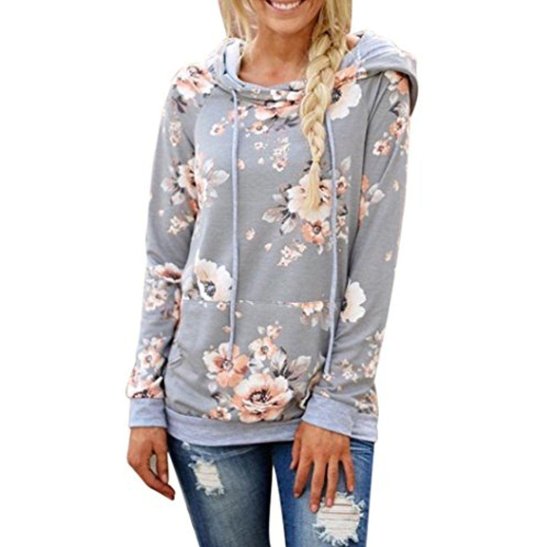 Simaer Womens Hoodies Long Sleeve Casual Cotton Tops with Kangaroo Pockets