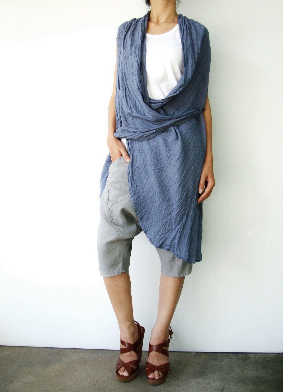 bluish grey tunic top.