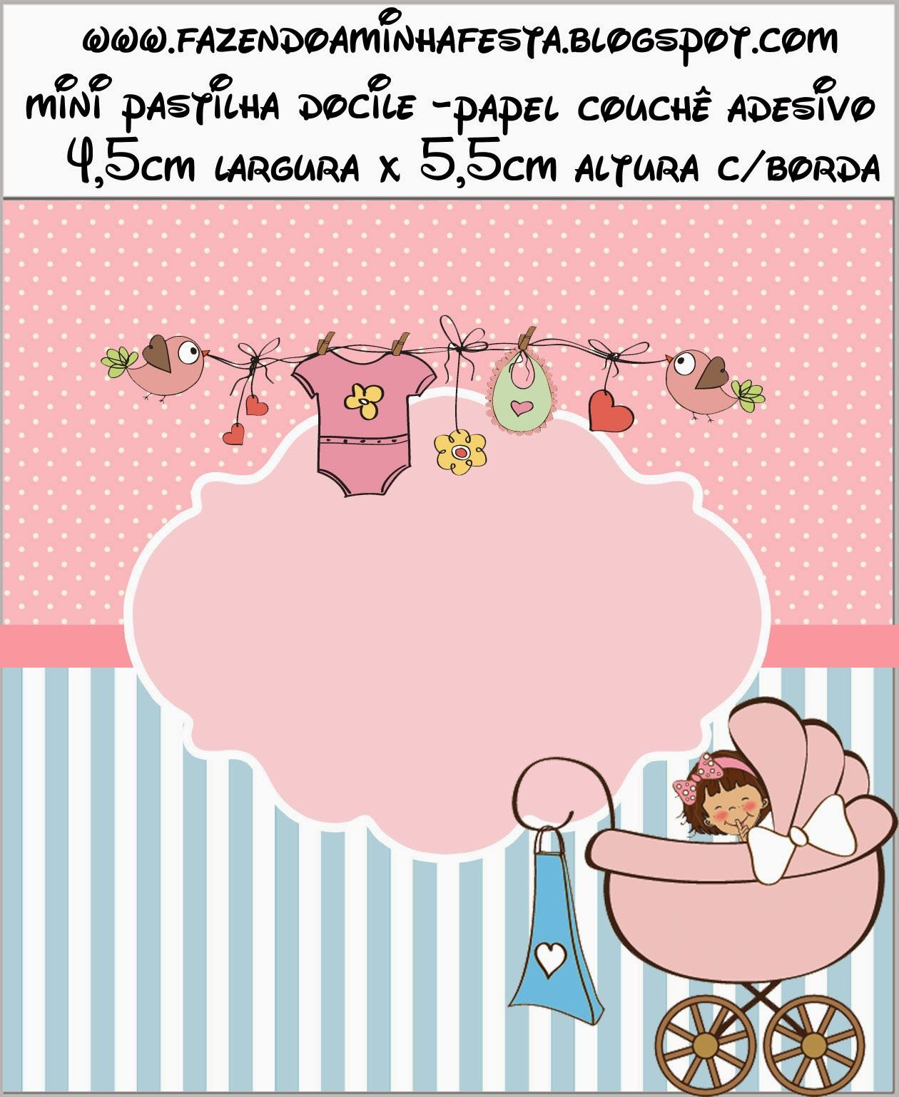 Cochecito Rosa de Bebé: Etiquetas para Candy Bar para Imprimir ...