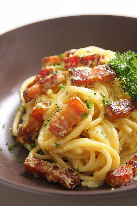 Authentic Pasta Carbonara Recipe - Tasty Recipedia  Delicious Pasta Carbonara