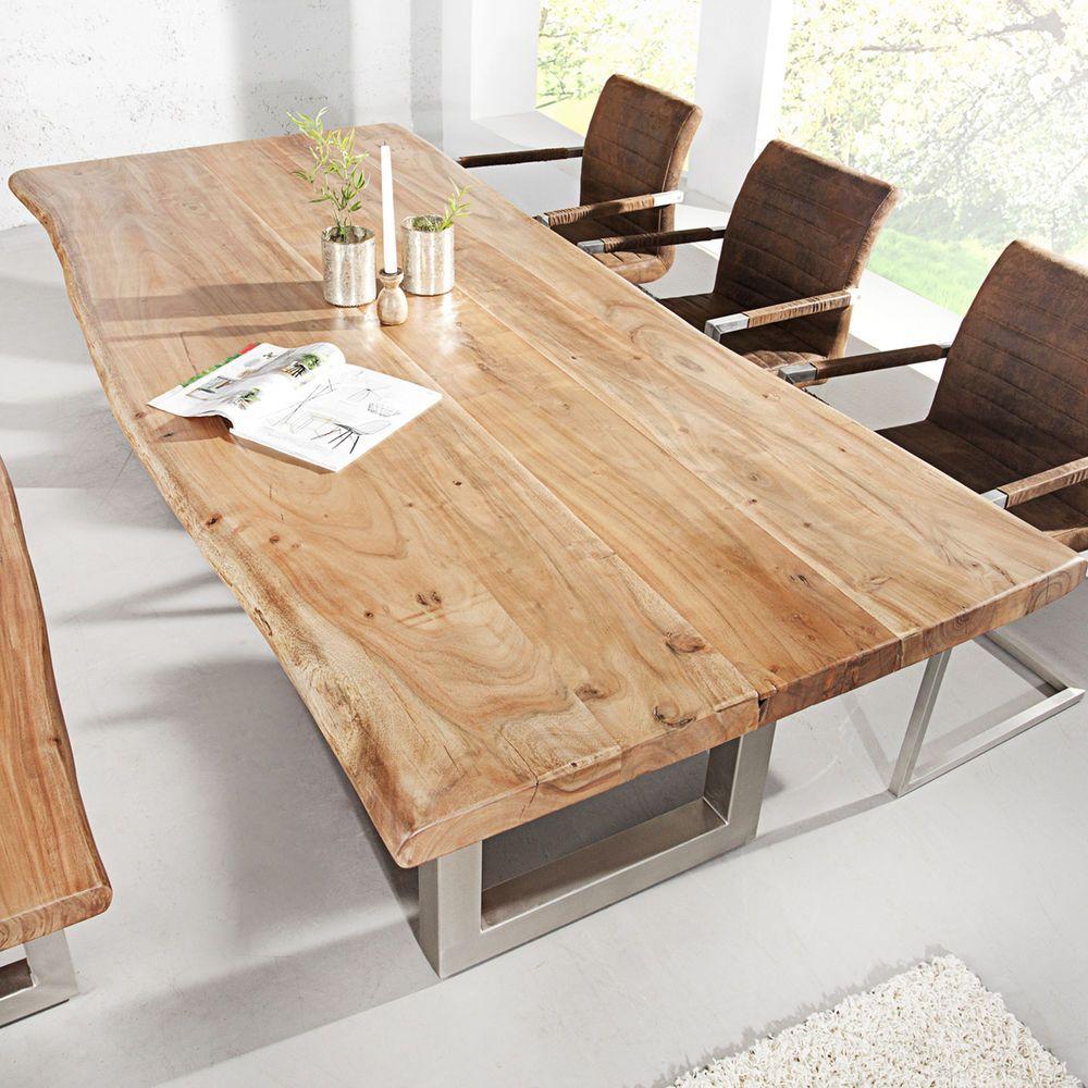 Esstisch Baumstamm Tisch Mammut Akazie Massivholz Holztisch