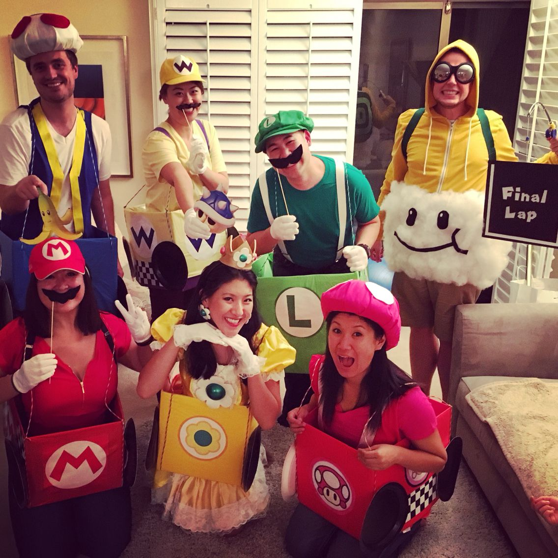 group costume idea mario kart luigi mario princess daisy toad toadette wario cloud guy. Black Bedroom Furniture Sets. Home Design Ideas