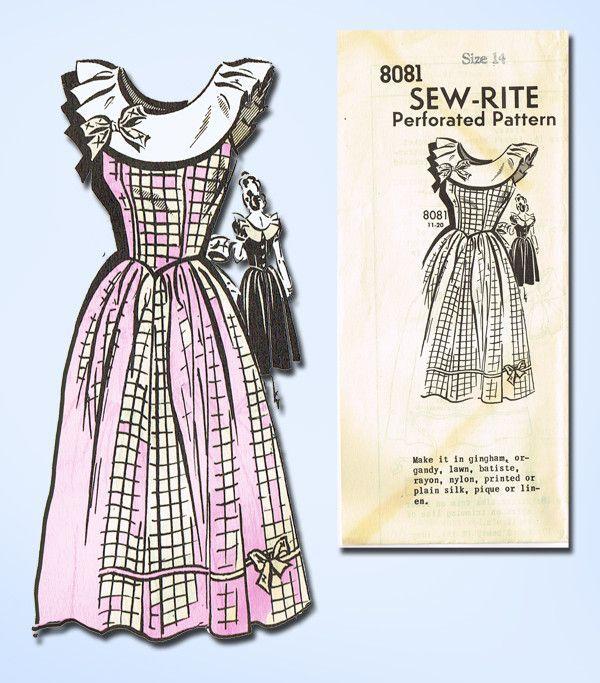 1940s Vintage Mail Order Sewing Pattern 8081 Uncut Misses Party Dress Sz 14 32B