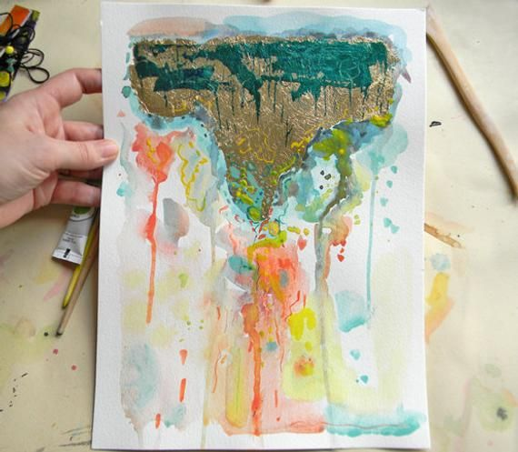 Original Fine Art Watercolor Painting Abstract Gold Leaf Painting
