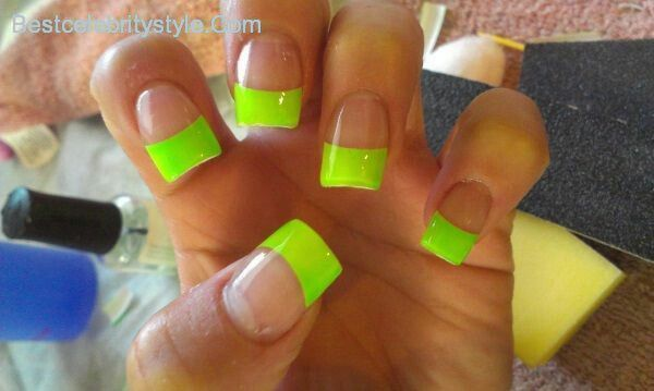 Neon Green Acrylic Nails With A French Tip
