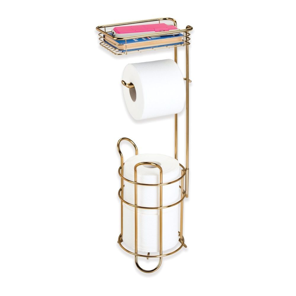 Toilet Roll Paper Holder Free Standing with Storage Shelf