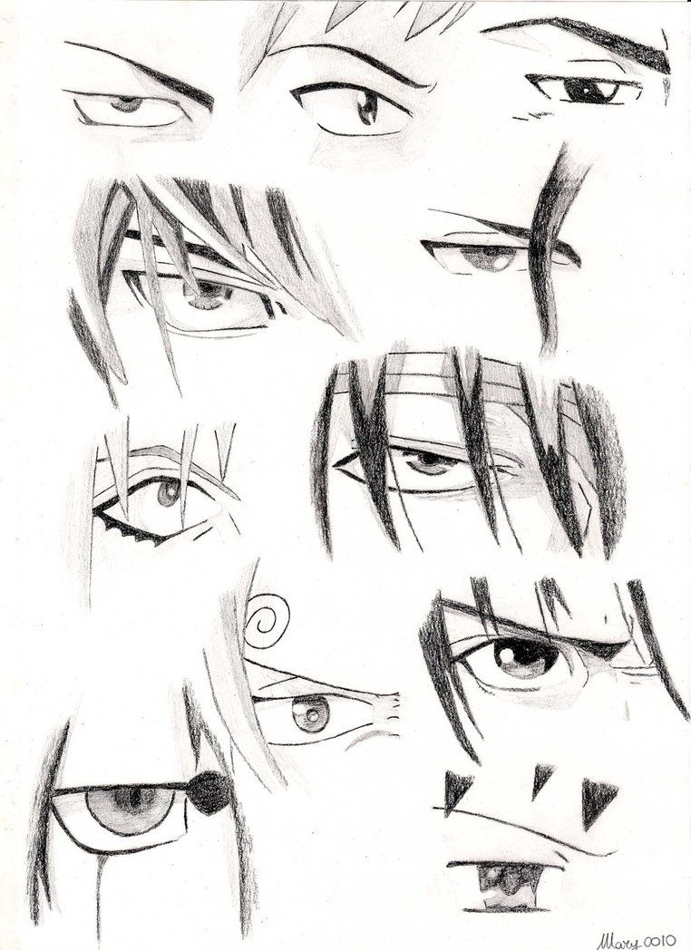 Draw male manga eyes