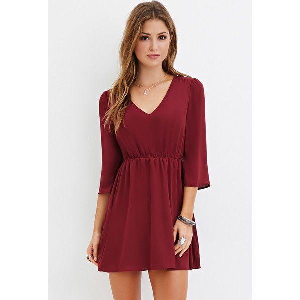 Forever 21 Forever 21 Women\'s V-Neck Mini Dress ($16) ❤ liked on ...