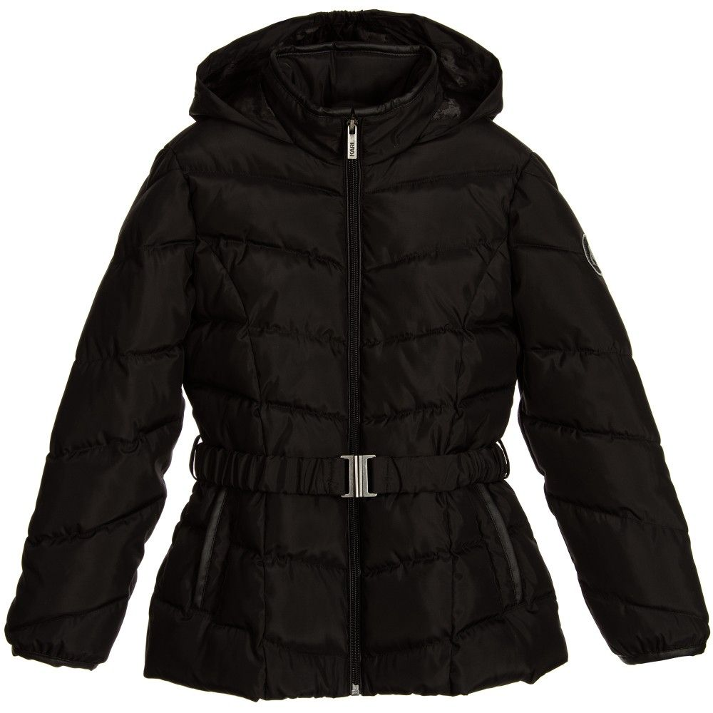 KARL LAGERFELD Kids Girls Black Padded & Hooded Logo Puffer Jacket ...