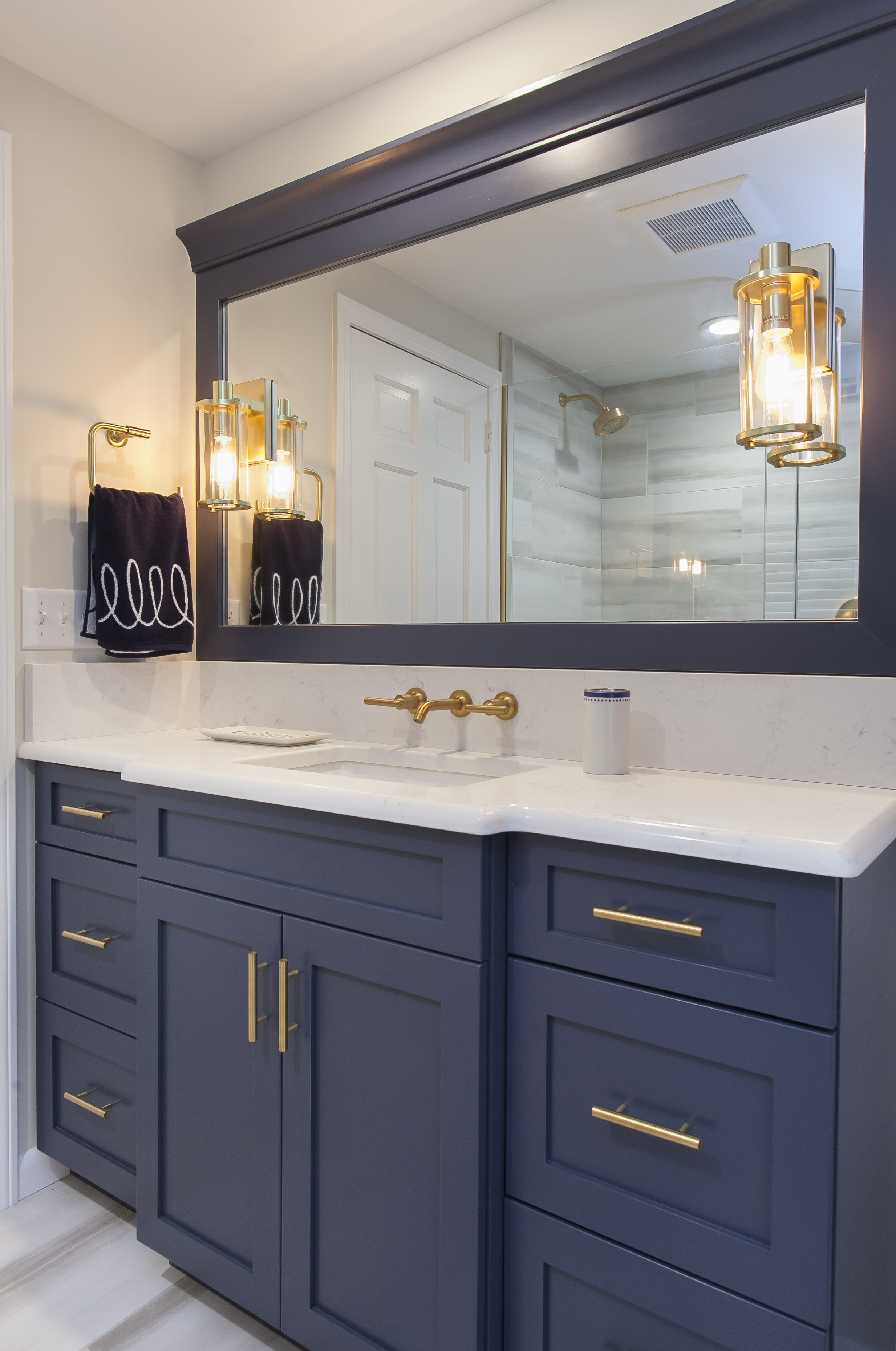 Custom Painted Vanity From Ultracraft Cabinetry Paintedcabinets Bathroom Bluecabinets Vanity Bathrooms Remodel Bath Design Kitchen And Bath