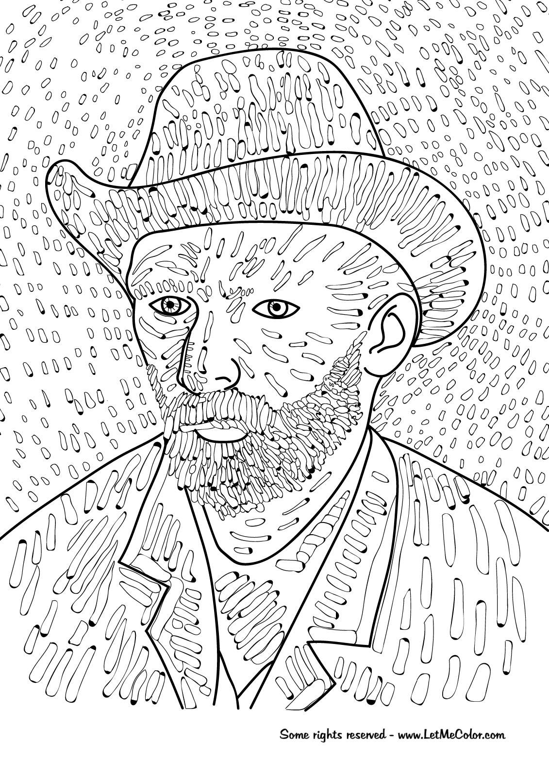 8 Coloring Page Van Gogh Van Gogh Coloring Van Gogh Self Portrait Coloring Pages