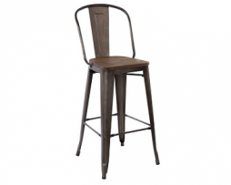 Pleasing Antique Rusty Industrial Tolix High Back Bar Stool Wood Seat Pabps2019 Chair Design Images Pabps2019Com