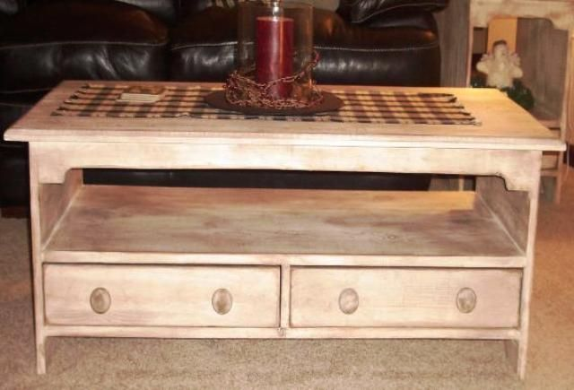 Coffee Table With Two Drawers Country Rustic Primitive Furniture Primitive Furniture Decor Rustic Furniture