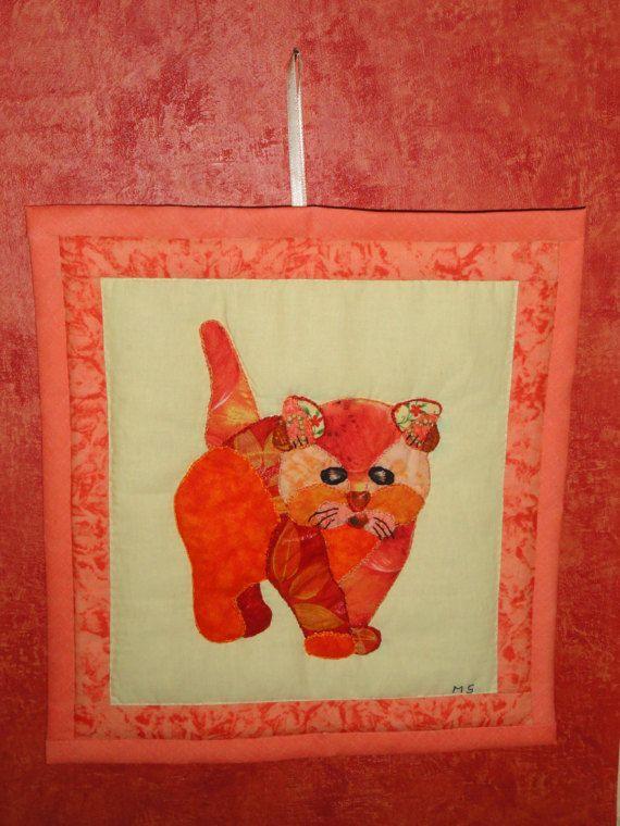 CAT ORANGE wall art quilt patchwork | Orange | Pinterest | Orange ...
