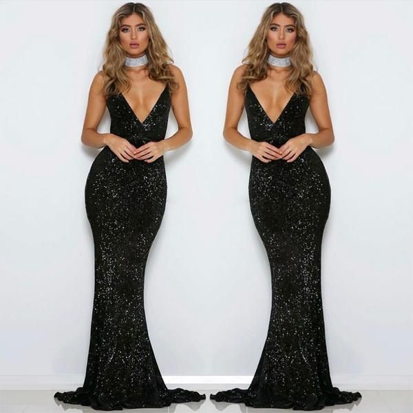 0c20db2785 Chic VNeck Her Fashion Sequined Bareback Sleeveless Mermaid Maxi Dress  #womensfashion #prom #wedding #party #shopping