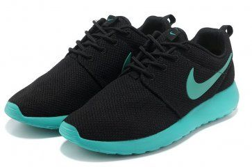 buy online 5cfd8 ae1be Nike Roshe Run Womens Black Cyan Blue Mesh Shoes