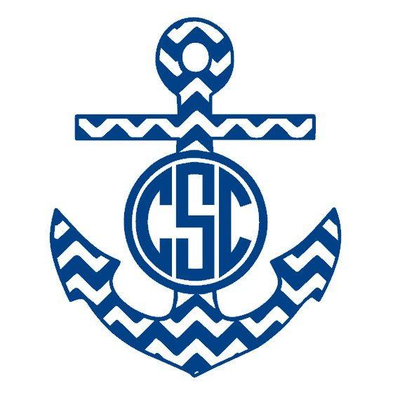 Chevron Anchor Monogram Decal Monogram Anchor Wall Decal - Anchor monogram car decal