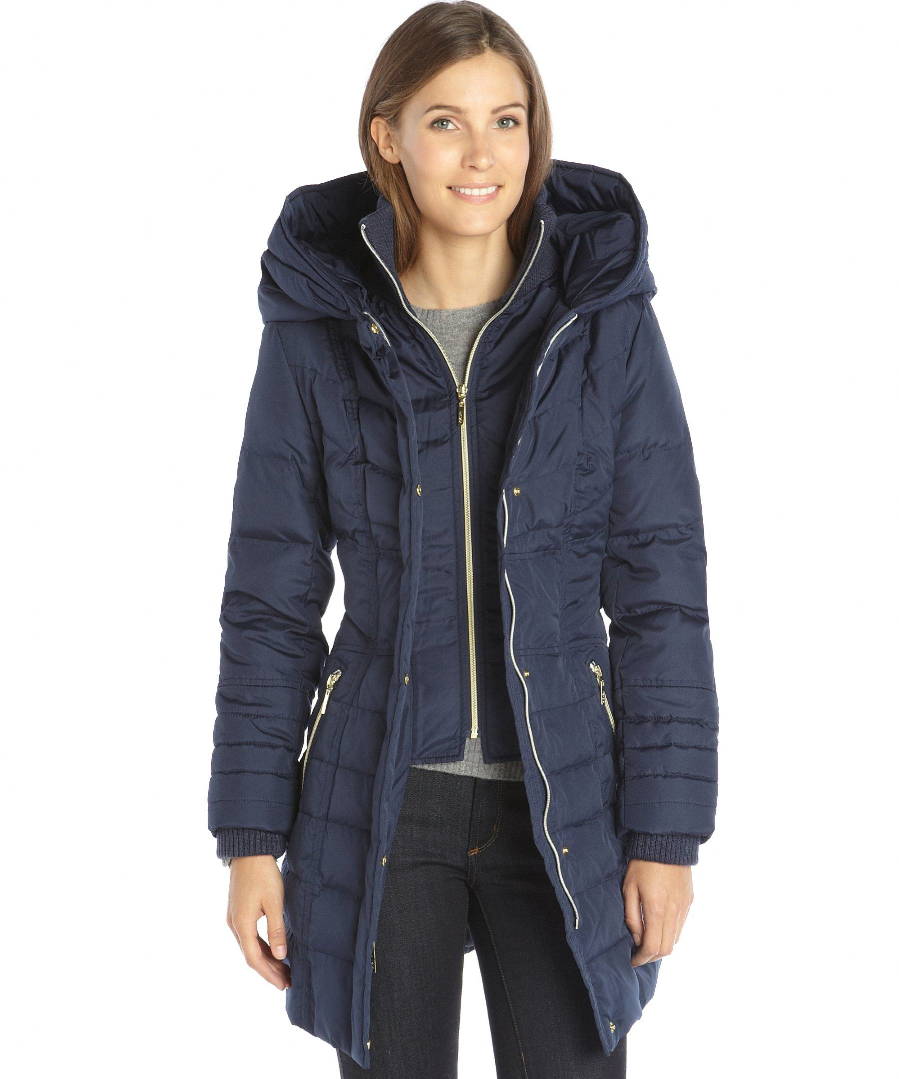 Kensie navy quilted woven belted oversize hooded down filled coat | BLUEFLY $100