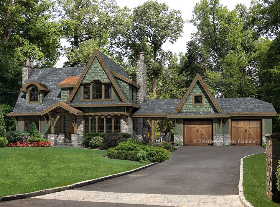Tudor influences add interest to this timber frame cottage plan. A ...