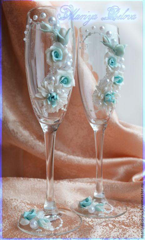 Купить Свадебные фужеры - савадебые бокалы, свадьба, полимерная глина фимо (fimo)