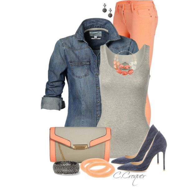 """Denim & Apricot"" by ccroquer on Polyvore"