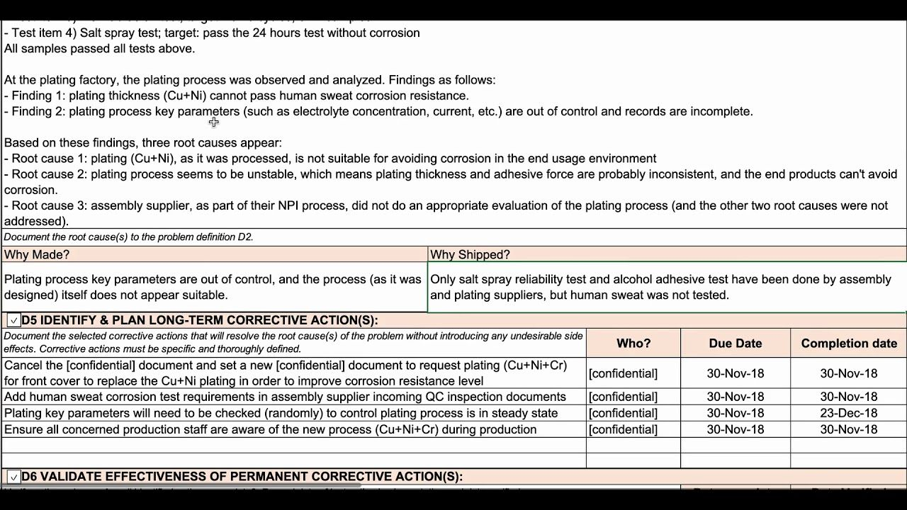 How To Complete An 8d Report 8d Template Walkthrough Within 8d Report Format Template Great Cretive Report Template Professional Templates Best Templates