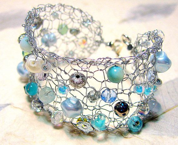 Glacier Blue Ice Hand Knit Wire Jewelry Bracelet by SerebaDesigns ...