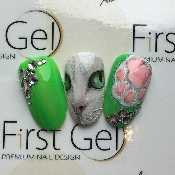 30+ Best Cats Nail Art - Cute Cats Nail Designs cat nails, cat nail ...