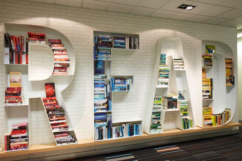READ bookshelf in the Hachette Australia Books foyer