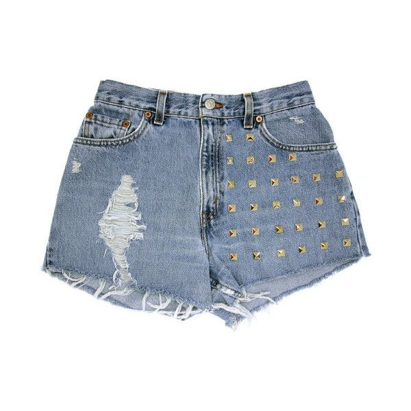 28w / STUDDED SHORTS / Levi Hipster High Waist Silver Pyramid Studded... ❤ liked on Polyvore