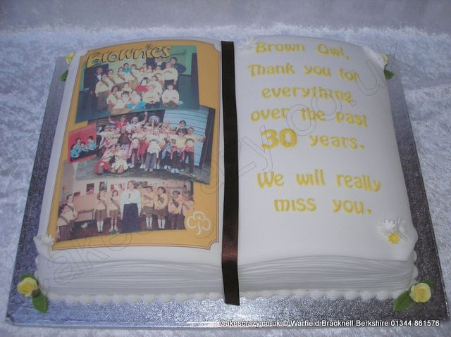 Brownies Retirement Cake Shaped Open Book Cake Donated To The