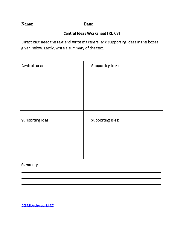 English Worksheets – Common Core English Worksheets