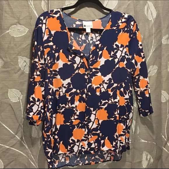 Blue and Orange Floral Shirt This is super comfortable with a little stretch. Fits true to size and is in fantastic condition. No trades. Stylus Tops