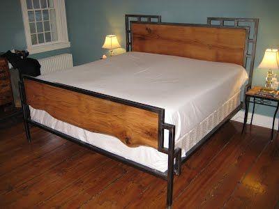 Red Oak And Steel Bed Frame 2010 Moveis De Metal Cabeceiras De Cama Cama