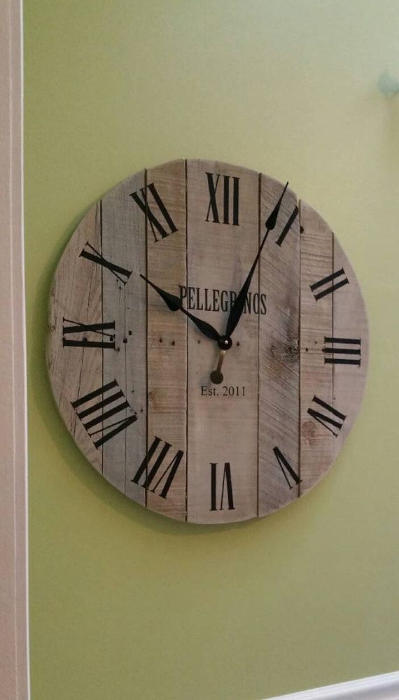 24 Large Wall Clock Wedding Gift Keepsake Reclaimed Wood Clock Unique Wall Clock Pallet Clock Farmhouse Decor Anniversary Gift Tasarim Rustic Wall Clocks Wood Clocks Pallet Clock
