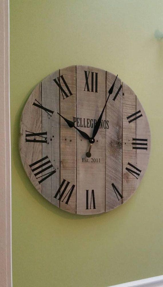 30 Quot Rustic Wall Clock Pallet Clock Large Wall Clock