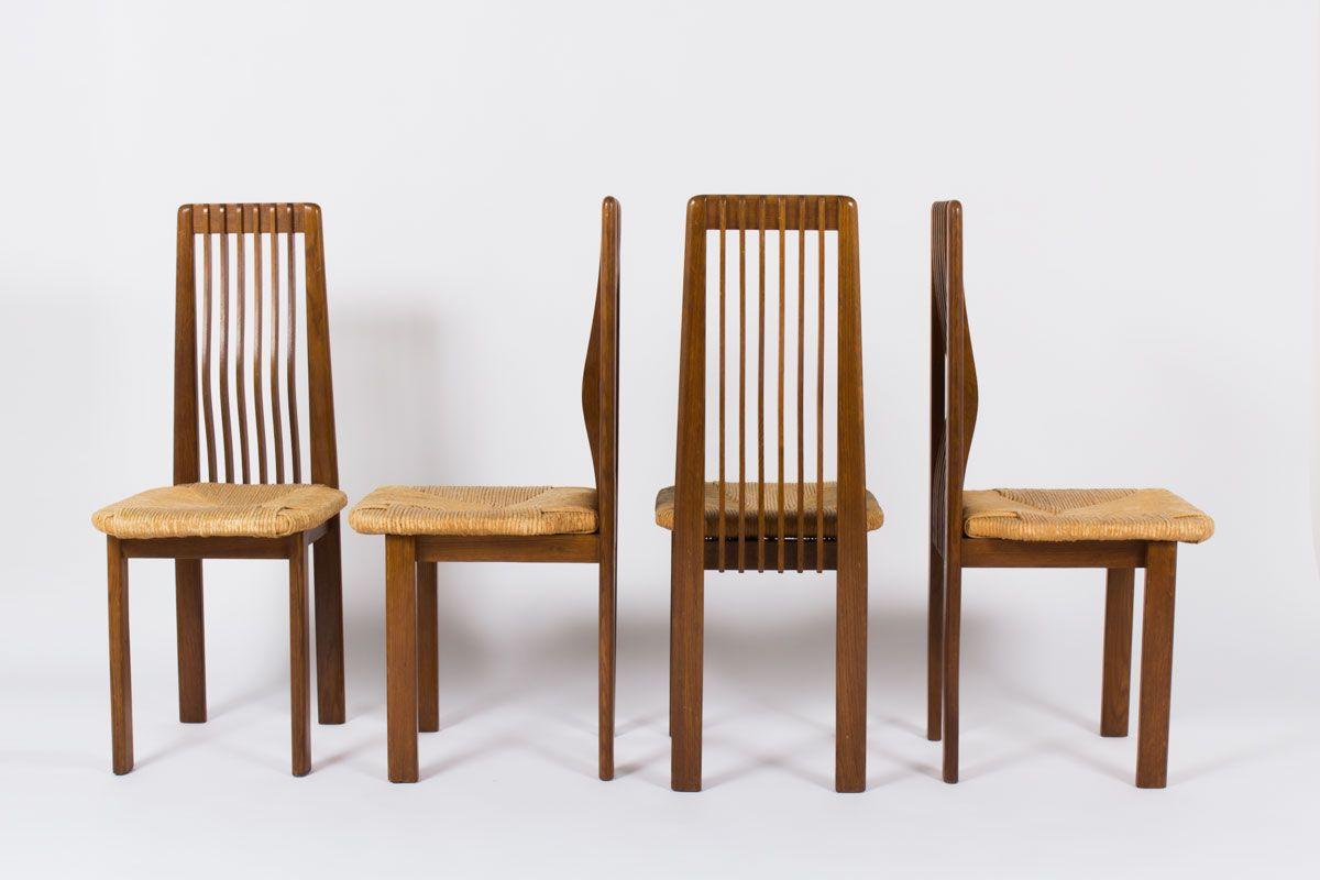 CHAISES EN CHENE ET PAILLE DESIGN ITALIEN 1950 SET DE 4 Disponibles sur: https://www.galerie44.com/collection/assises/chaises-en-chene-et-paille-design-italien-1950-set-de-4-details