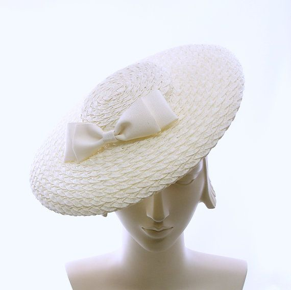 Off White WIDE BRIM HAT for Women Vintage by TheMillineryShop bf2698e554ad