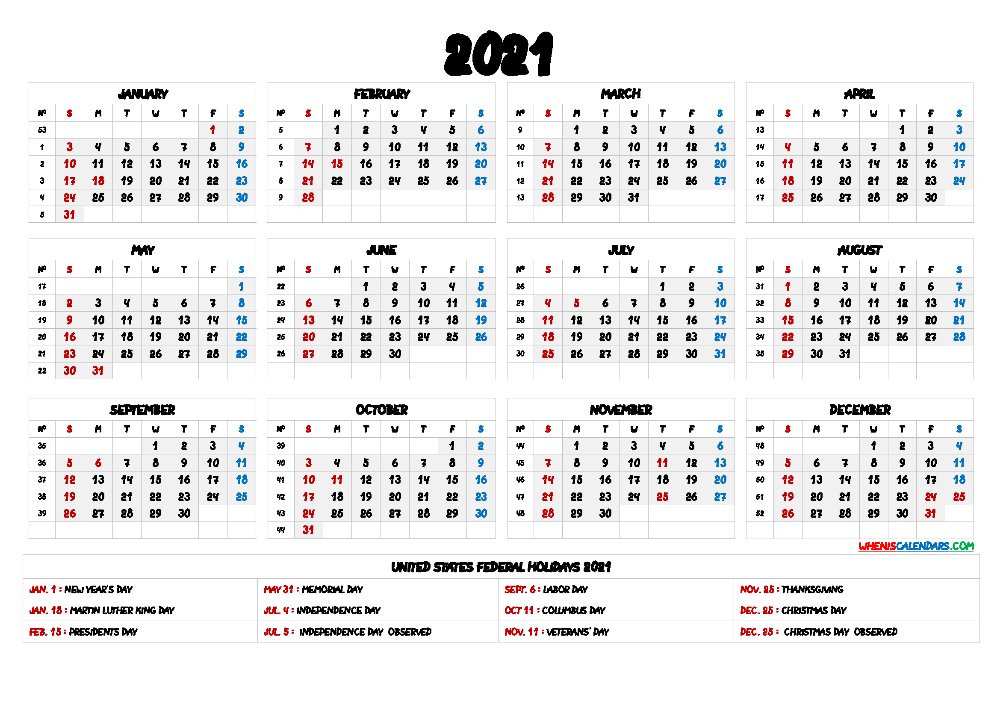 Free Printable 2021 Yearly Calendar with Holidays 9