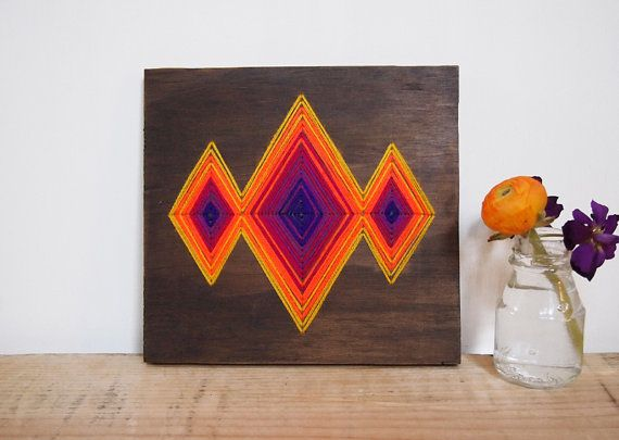Neon Lights Textile and Wood Art by christijay on Etsy, $120.00