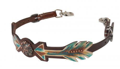 0d7b40033d15 Showman ® Medium leather wither strap with painted arrows and praying  cowboy concho