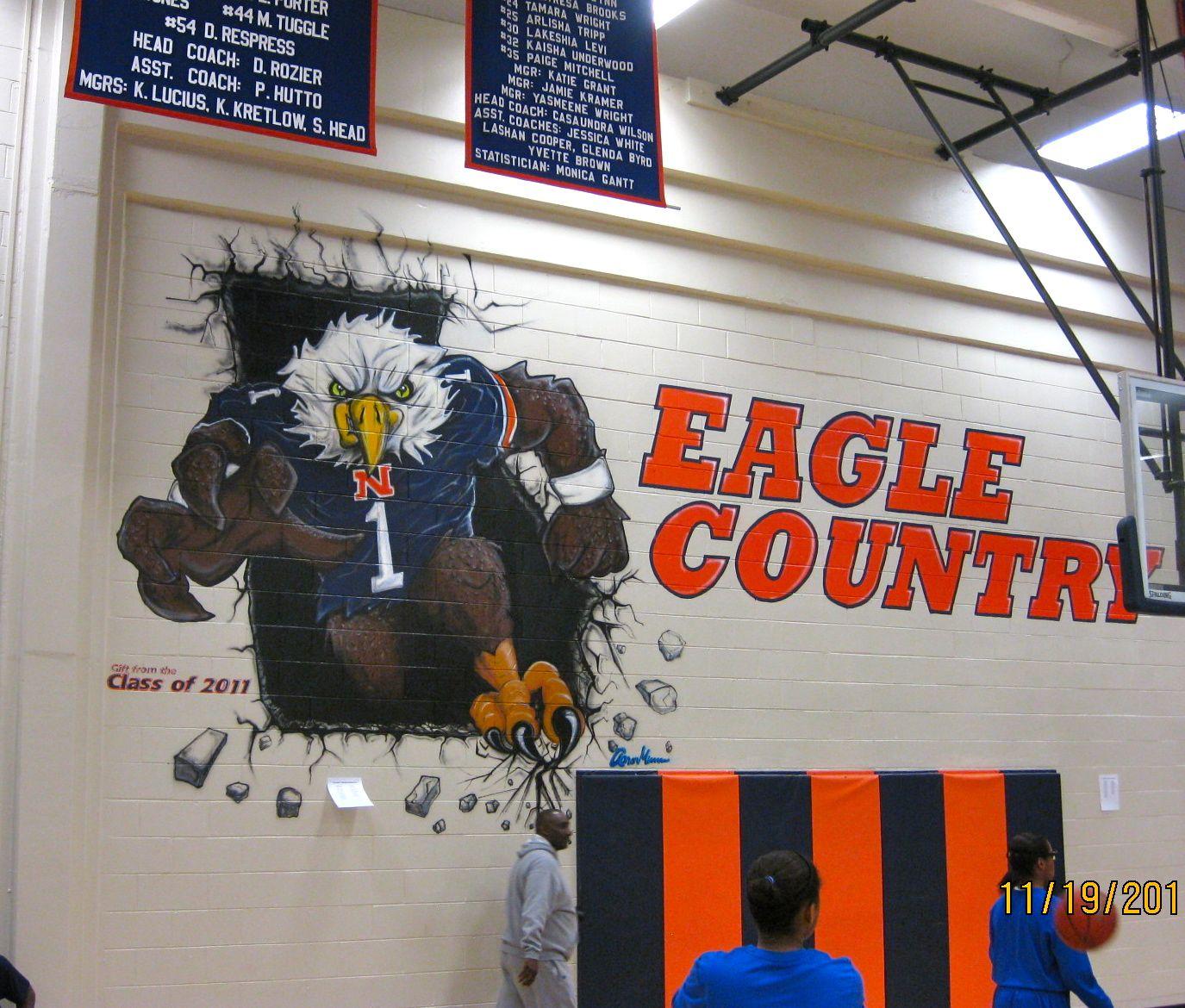 Mural in northside high school gym ux u acrylic spray paint