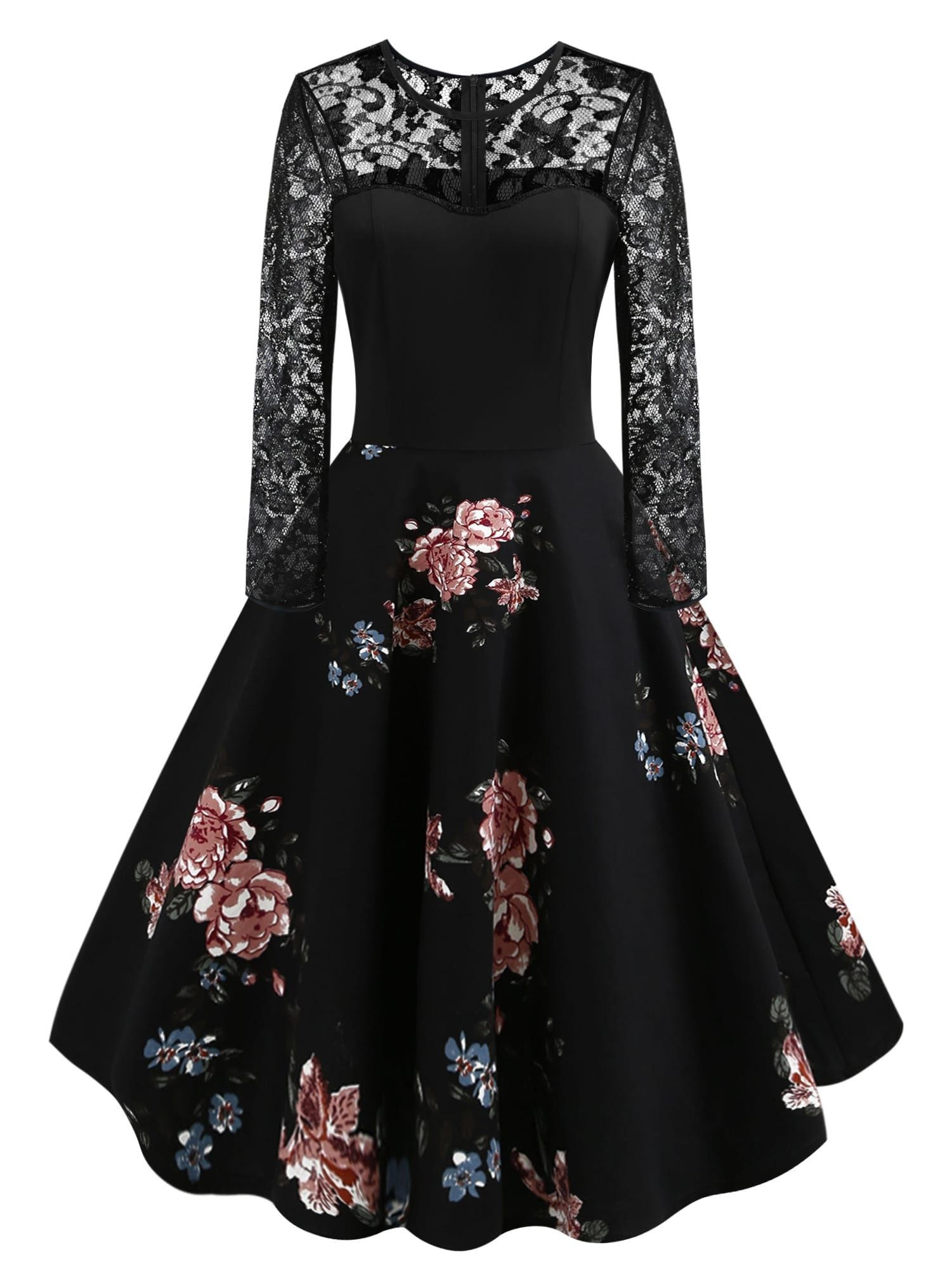 faa9225088207 Vintage A Line Contrast Lace Floral Fit and Flare Flared Round Neck Long  Sleeve Natural Black Knee Length 50s Lace Panel Floral Print Flared Dress