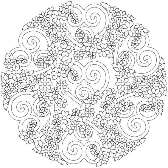 flowers and heart mandala coloring pages colouring adult detailed advanced printable kleuren voor volwassenen coloriage pour