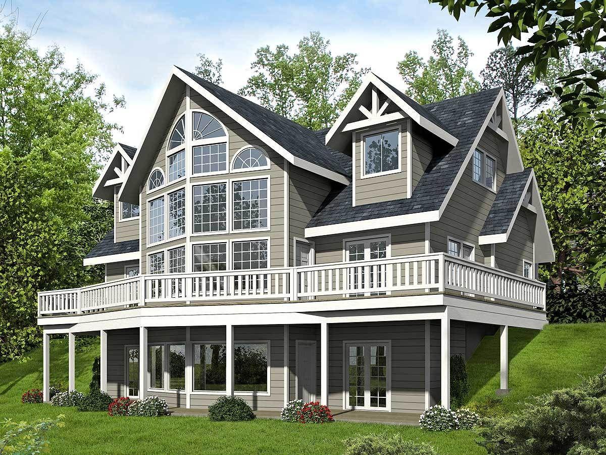 Plan 35532gh Two Story Window Wall Modern Farmhouse Plans Lake House Plans Mountain House Plans