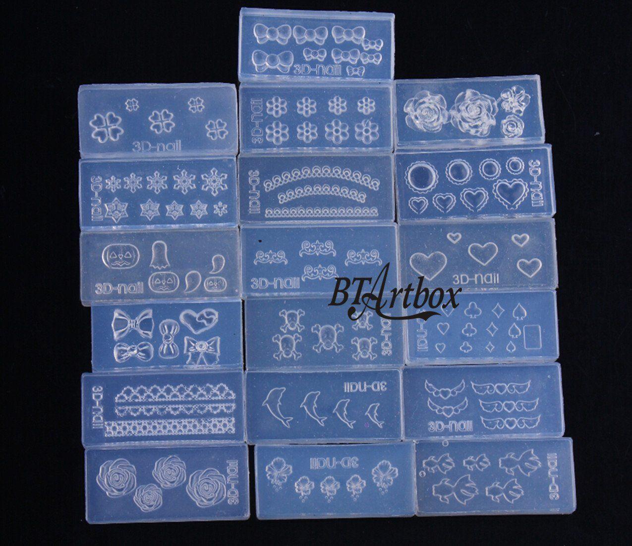 Btartbox Random Style 6 Pcs 3d Acrylic Nail Art Mold Diy Nail Art