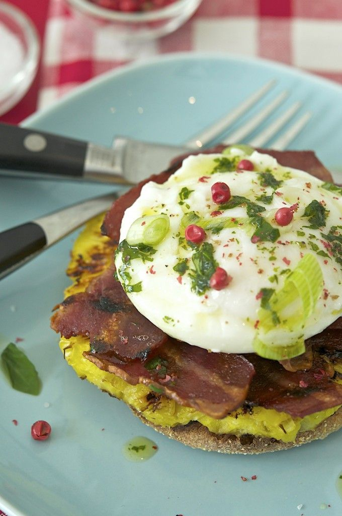 what a combo- grilled pineapple, bacon & egg english muffin, topped with basil oil, pink peppercorns, fontina and fresh herbs