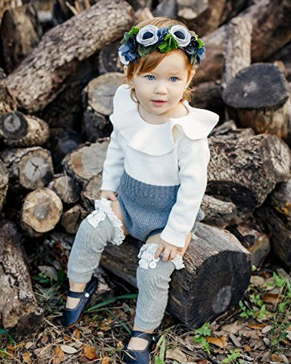 c422bc99f32 Amazon.com  Baby Girls Romper Knitted Ruffle Long Sleeve Jumpsuit Baby Kids  Girl Romper Autumn Winter Casual Clothing  Clothing