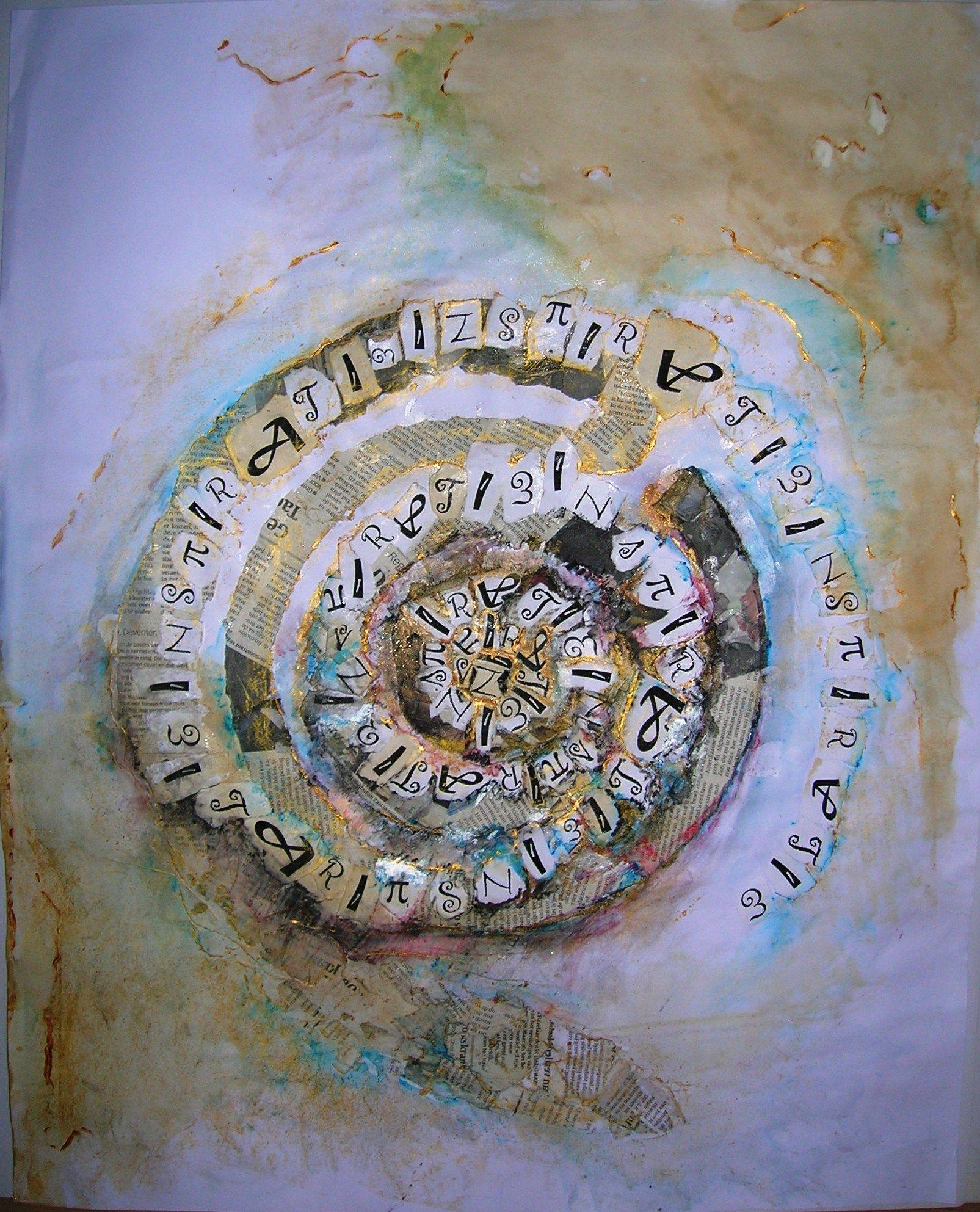 collage, acrylverf, koffie, samenwerking met drie mensen