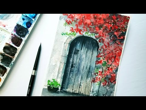 Old Wooden DOOR watercolor PAINTING Step by Step / Flower Tr…